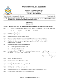 Oxford Countdown Level 6 Maths Mcqs Examination 2011 Class Vii