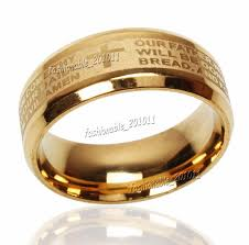 gold bands rings images Stainless steel etched english lord 39 s prayer cross wedding gold jpg