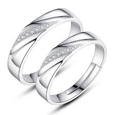 design silver rings images Silver couple rings blue thinking couple rings 925 sterling silver jpg