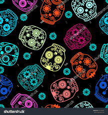 seamless halloween background sugar skull seamless pattern halloween background stock vector