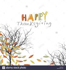 happy thanksgiving greeting card design logo and fallen trees stock