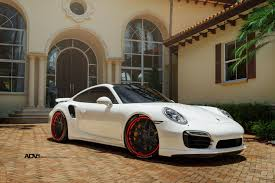 red porsche black wheels white porsche 911 turbo s adv7 track spec cs series wheels