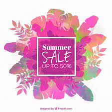 summer sale summer sale background with colored leaves in watercolor style