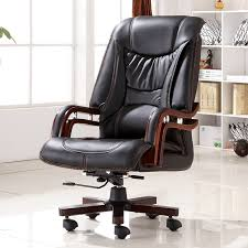 Computer Desk Chairs For Home Executive Bonded Leather Office Chair Swivel Legs Wood Modern