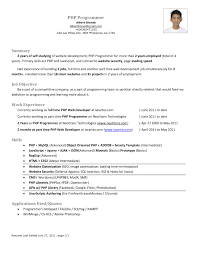 Best Resume For 2 Years Experience by For Experienced Php Developer End