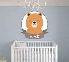 Boys Nursery Wall Decals Custom Name Animal Series Baby Boy Nursery Wall
