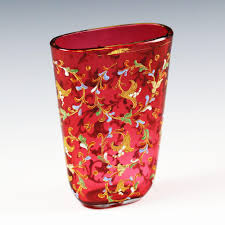 Glass Vase Painting Bohemian Moser Cranberry Art Glass Vase Hand Painted Raised Enamel