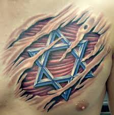 fantastic hebrew dawid star under torn skin tattoo on chest