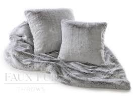 White Fur Cushions Grey Faux Fur Throw U2013 Silver Shadow