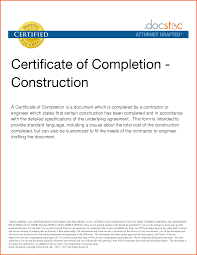 certificate of construction completion