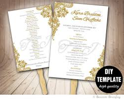 fan program gold wedding program fan template diy instant printable