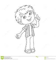 coloring page outline of cartoon boy with great idea stock vector