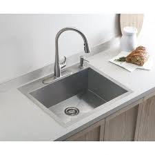 Kohler Vault Medium Single Mm X Mm Brushed Steel Inset - Brushed steel kitchen sinks