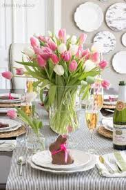 Easter Table Decorations With Jelly Beans by Easter Table With Bunnies Eggs And Tulips In Jelly Bean Vase