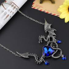 crystal chain link necklace images Blue heart crystal flying dragon necklace pendant black chain link jpg