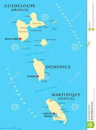 Map Caribbean Sea by Guadeloupe Dominica And Martinique Political Map Stock Vector