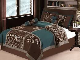 Duvet Covers Brown And Blue 7 Pc Modern Brown Teal Blue Patchwork Comforter Set Bed In A Bag