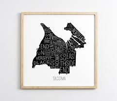 Chicago Neighborhood Map Poster by Tacoma Neighborhoods Map Poster Art Print Wall Art Home
