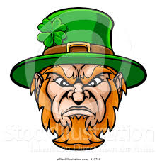 vector illustration of a tough angry st patricks day leprechaun