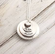 Disc Necklace Stacked Silver Disc Necklace Heart Grandmother Mother Gift