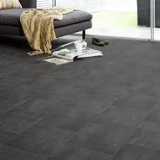 brilliant cushioned vinyl flooring ecostep black slate tile 589