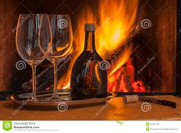 wine for two at cozy fireplace royalty free stock image image