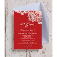 40th anniversary invitations personalised 40th ruby wedding anniversary invitations