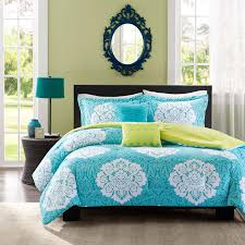 twin bedding sets for girls amazon com aqua blue lime green floral damask print comforter