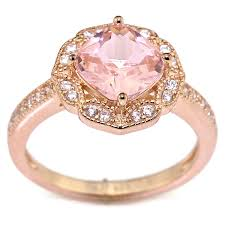 pink morganite created pink morganite floral halo solitaire bridal