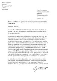 lettre de motivation cuisinier de collectivité modèle de lettre
