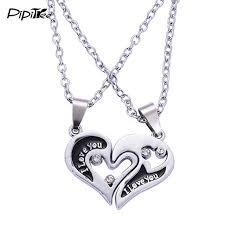 silver heart necklace wholesale images Wholesale couple lovers necklaces pendants 316l stainless chain jpg