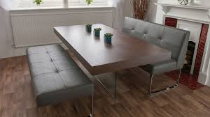 dining benches design ideas with dark leather cushioning and