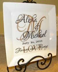 personalized wedding plate personalized wedding gift s names and initial vinyl