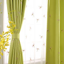Green Kids Curtains Dragonfly Embroidery Linen Cotton Blend Kids Curtains