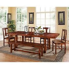 6pc distressed dark oak wood dining kitchen set saracina home