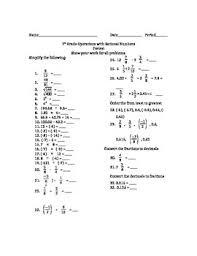 7th grade operations with rational numbers pretest test by mid