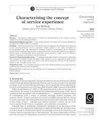 characterising the concept of service experience pdf download