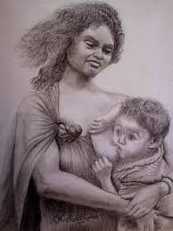 mother and baby pencil sketch varna thoolika beautiful kerala