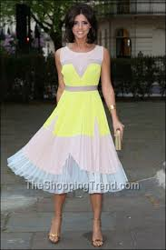 lucy mecklenburgh yellow dress at superdrug party by bcbgmaxazria