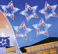 Red And White Christmas Lights by Set Of 5 Led Red White And Blue Patriotic Star Christmas Lights