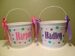 monogrammed easter buckets pool personalized easter basket quart metal by deladesign