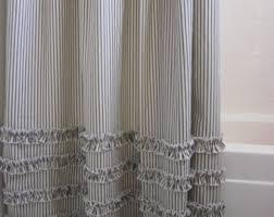 White Cotton Duck Shower Curtain Ticking Stripe Shower Curtain Black Brown Grey Navy Blue