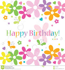 happy birthday card with flowers stock illustration image 55006630