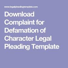 download complaint for defamation of character legal pleading