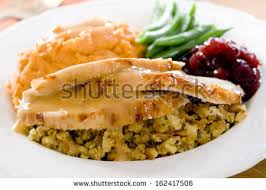traditional thanksgiving turkey dinner cranberry sauce stock photo