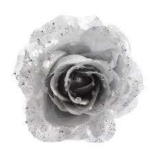Glitter Rose Christmas Decorations by Glitter Rose On Clip Silver 14cm Christmas Tree Decoration