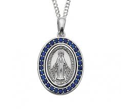necklace blue stone images Women 39 s oval blue stone miraculous medal with chain jpg