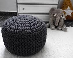 grey large crochet pouf ottoman nursery footstool knit