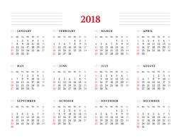 Calendar 2018 Ai Template White 2018 Calendar Template Vector Vector Calendar Free