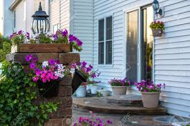 brick patio steps and pillar covered with climbing plant and